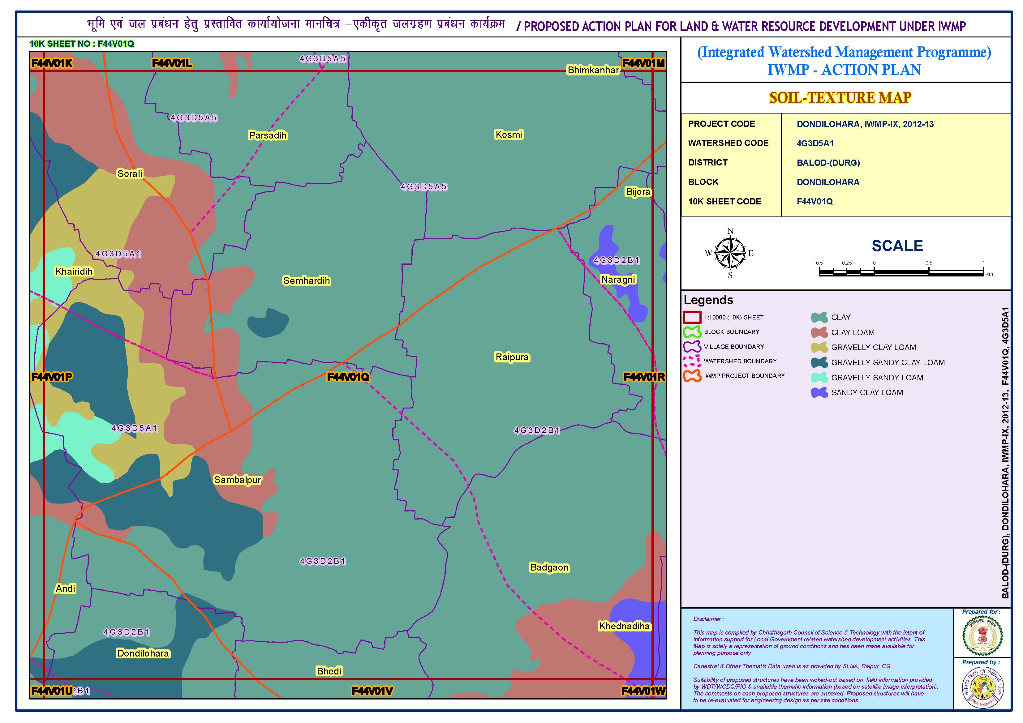 Proposed action plan for land and water resource development (Soil-texture map)